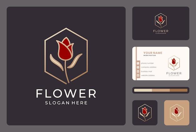 Inspiratie bloem, bloemen, natuur logo ontwerp met visitekaartje.