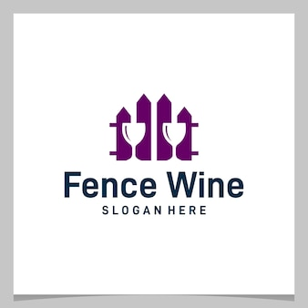 Inspiratie logo ontwerp hek met glas wijn logo. premium vector