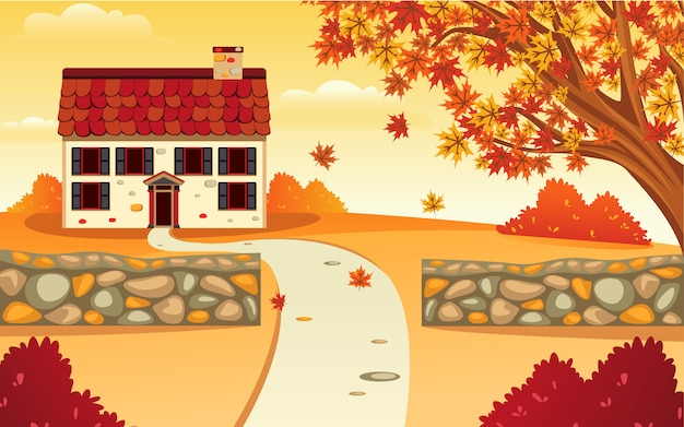Inspiratie vector platte ontwerp van een landschap huis en tuin in de herfst die de schoonheid oranje maakt.
