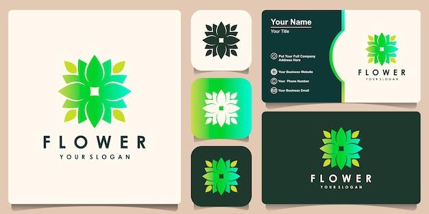 Inspiratie voor bloemlogo-ontwerp en ontwerp voor visitekaartjes