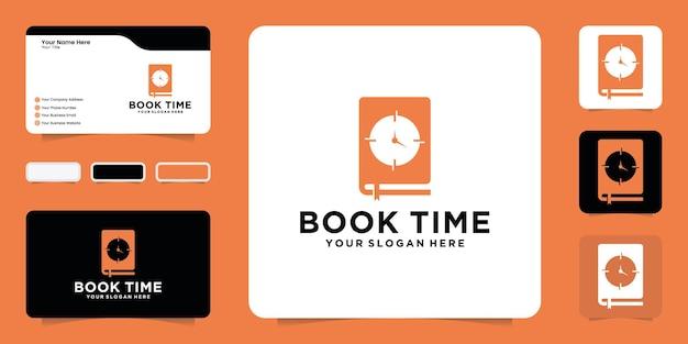 Inspiratie voor boek- en kloklogo-ontwerp met inspiratie voor visitekaartjes