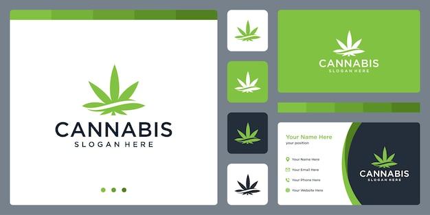 Inspiratie voor het ontwerp van het logo van cannabisbladeren. sjabloonontwerp voor visitekaartjes.