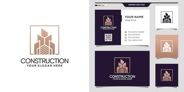 Inspiratie voor het ontwerpen van bouwlogo's met modern concept en visitekaartjeontwerp