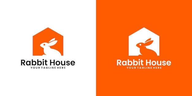 Inspiratie voor logo-ontwerp voor konijnenhuis, inspiratie voor huisdierenhuis en visitekaartjes