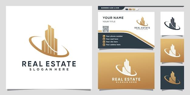 Inspiratie voor logo-ontwerp voor onroerend goed met creatief concept en ontwerp voor visitekaartjes premium vector