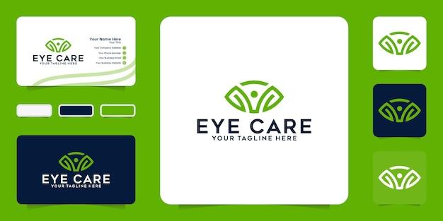 Inspiratie voor logo-ontwerp voor ooggezondheid en sjabloon voor visitekaartjes