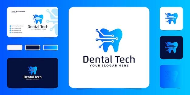 Inspiratie voor logo-ontwerp voor tandheelkundige technologie en visitekaartje