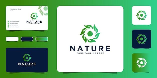Inspiratie voor natuurlijk logo-ontwerp met gedraaide bladeren en visitekaartje