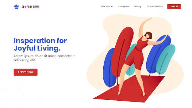 Inspiratie voor op vreugdevol leven gebaseerd conceptontwerp van bestemmingspagina's met anonieme vrouw die oefening op rode mat met aardmening doet.