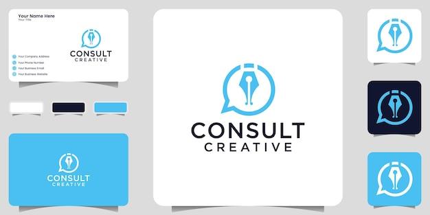 Inspiratie voor penlogo-ontwerp en gespreksbubbels voor advies, financiën en zaken