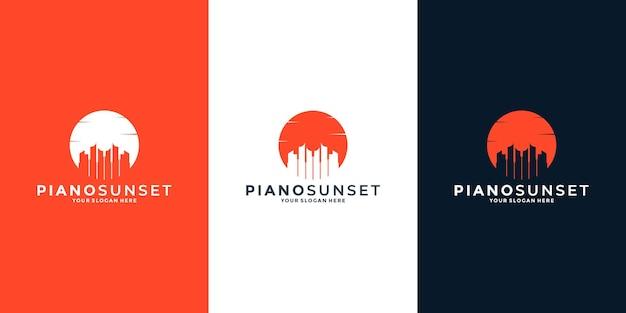 Inspiratie voor piano-zonsonderganglogo-ontwerp voor uw muzikant of bedrijf