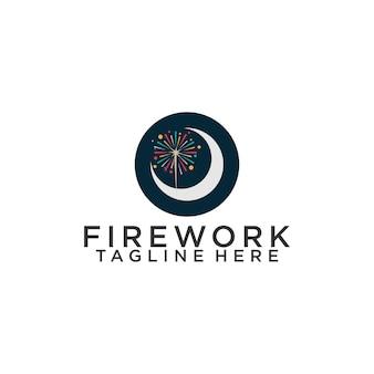 Inspiratie voor vuurwerklogo's. vuurwerk logo concept vector