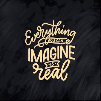 Inspirerend citaat over droom. hand getekende vintage illustratie
