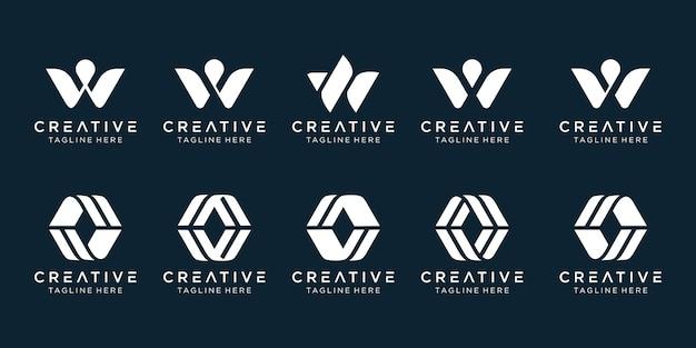 Inspirerende abstracte letter w logo sjabloon iconen voor zaken van mode sport technologie