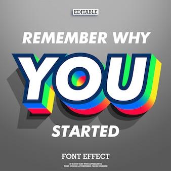 Inspirerende citaat met coole 3d extrude lettertype effect dubbele kleur en schaduw