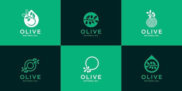 Inspirerende collectie olijfolie-logo's