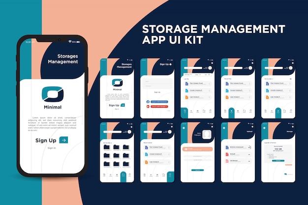 Inspirerende moderne storage management app ui kit-sjabloon
