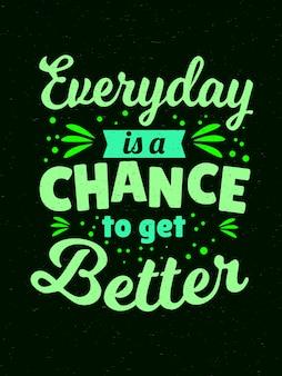 Inspirerende motivatiecitaten - elke dag is een kans om beter te worden