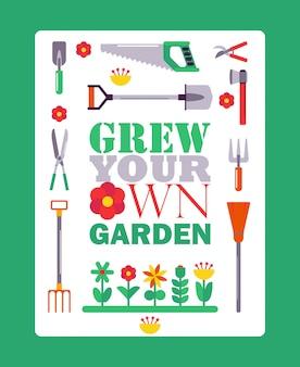 Inspirerende tuinieren poster, typografische boekomslag met geïsoleerde tuinman hulpmiddelen pictogrammen.