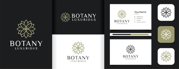 Inspirerende vrouwelijke lijn blad bloem logo set