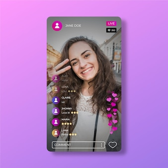 Instagram app live stream interface sjabloon