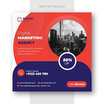 Instagram-bericht van digitaal marketingbureau en sjabloon voor spandoek voor sociale media