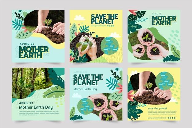 Instagram-berichtenverzameling voor de viering van de dag van de moeder aarde