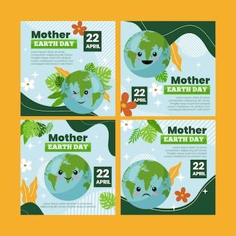 Instagram-berichtenverzameling voor de viering van moeder aarde dag