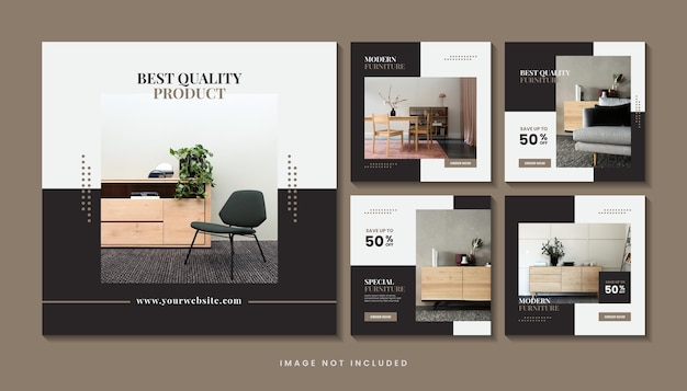 Instagram-berichtenverzameling voor interieurontwerp met meubels