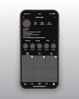 Instagram dark mode ui ux-sjabloon