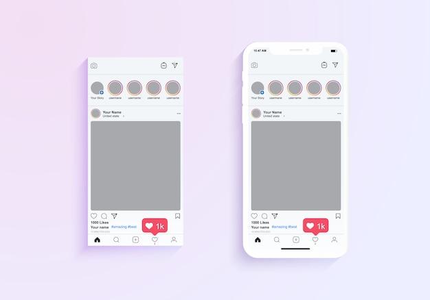 Instagram fotolijsten weergave van mobiele applicatie. illustratie van mobiele telefoon applicatie met fotolijst en opmerkingen illustratie