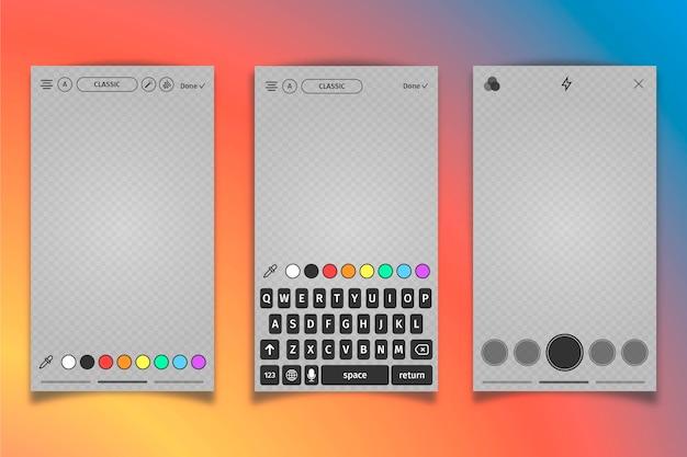 Instagram grijs profiel interface sjabloon en toetsenbord