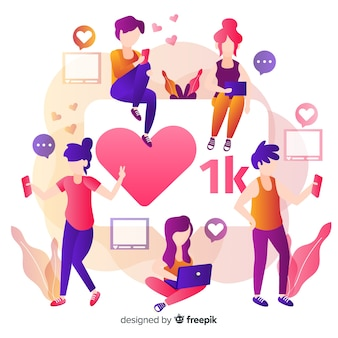 Instagram hart. tieners op sociale media. personage ontwerp.