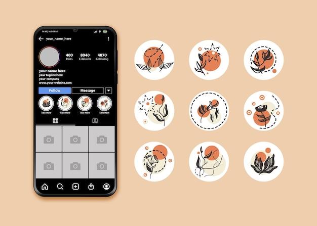 Instagram hoogtepunt pictogrammenset met bloemenlogo