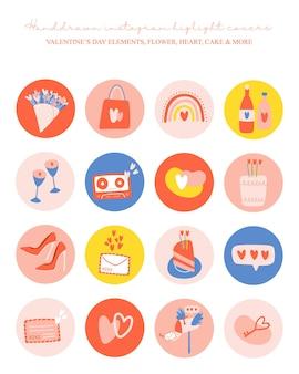 Instagram-hoogtepunten dekken pictogrammenset met valentijnsdag-elementen.
