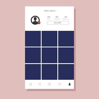 Instagram-interface voor mobiele app. fotolijst met plat ontwerp