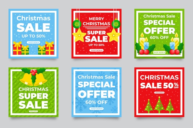 Instagram kerstmis verkoop post set