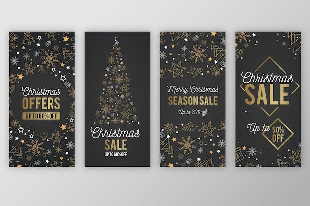 Instagram-kerstverhaal met gouden bomen en sneeuwvlokken