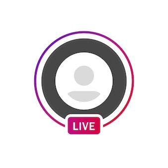 Instagram live frame profiel verloop cirkel voor sociale media live streaming of icoon avatar
