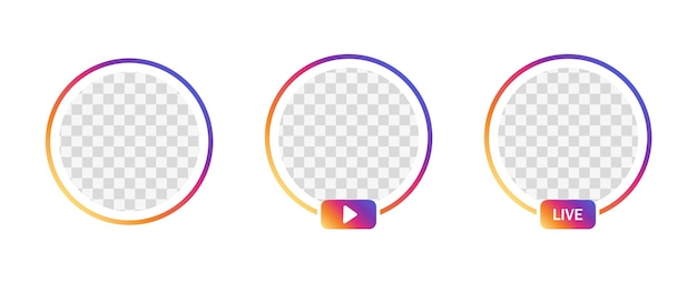 Instagram live frameprofiel gradiëntcirkel voor live streaming van sociale media