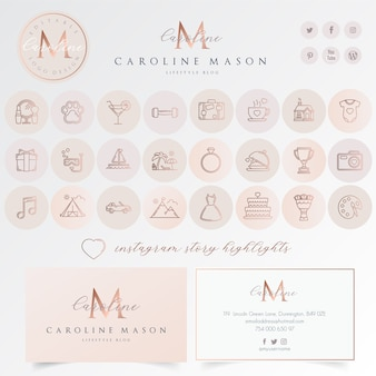 Instagram markeren icon set