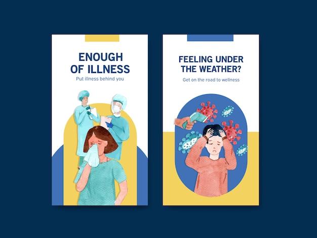 Instagram ontwerp ziekten concept met mensen en arts tekens in ziekenhuis aquarel vectorillustratie