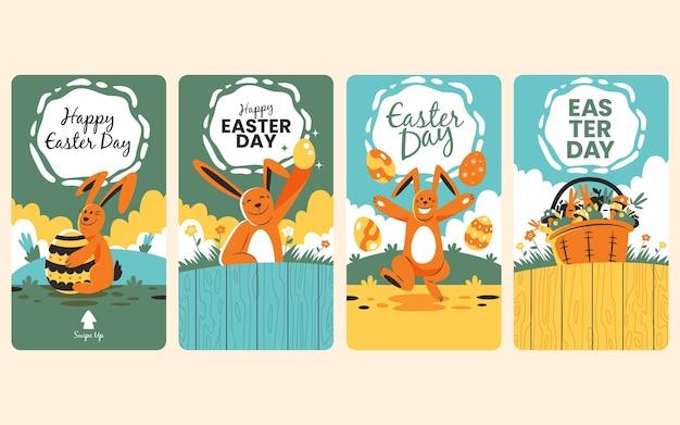 Instagram pasen-verhalenverzameling grappig konijn