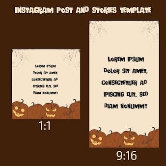 Instagram-post en verhalen halloween-sjabloon