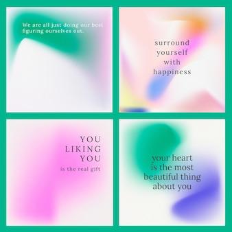 Instagram post vector set kleurrijke achtergrond