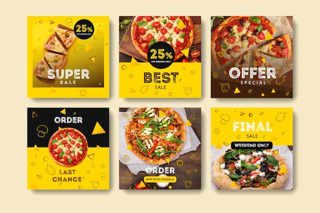 Instagram posts collectie voor pizzarestaurant