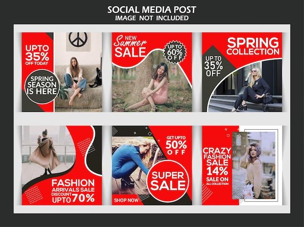 Instagram postsjabloon of vierkante banner, mode creatieve korting premium sociale media