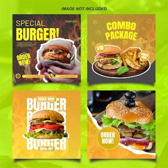 Instagram-postsjabloon van hamburger met felle kleur en inhoud