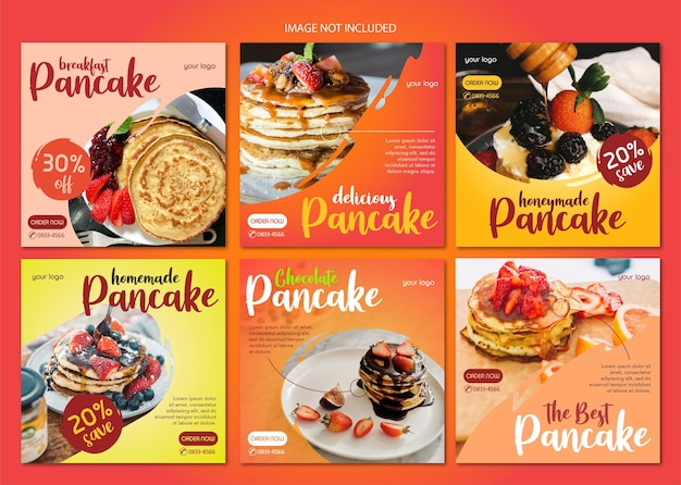 Instagram postsjabloon van pannenkoeken die je pannenkoekenverkoop kunnen helpen