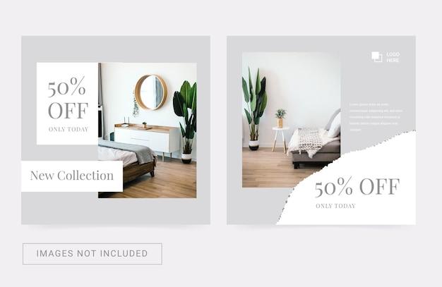 Instagram-postsjabloon voor modern interieurarchitectuurmeubilair flyer-bannerpromotie